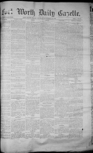 Primary view of object titled 'Fort Worth Daily Gazette. (Fort Worth, Tex.), Vol. 7, No. 261, Ed. 1, Saturday, September 22, 1883'.