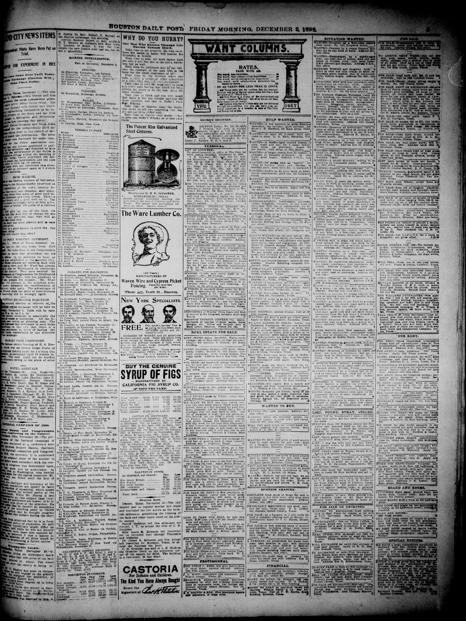 The Houston Daily Post (Houston, Tex ), Vol  14, No  244, Ed