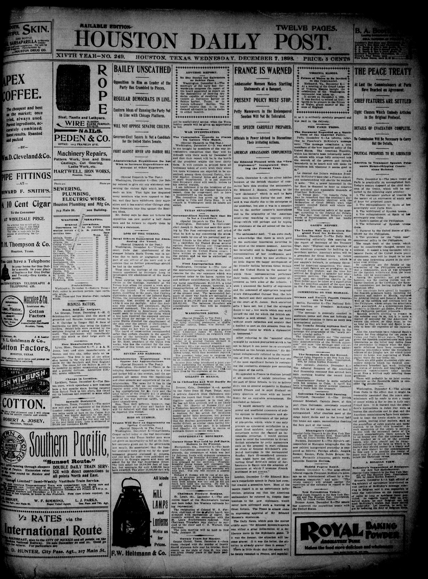 The Houston Daily Post (Houston, Tex.), Vol. 14, No. 249, Ed. 1, Wednesday, December 7, 1898                                                                                                      [Sequence #]: 1 of 12