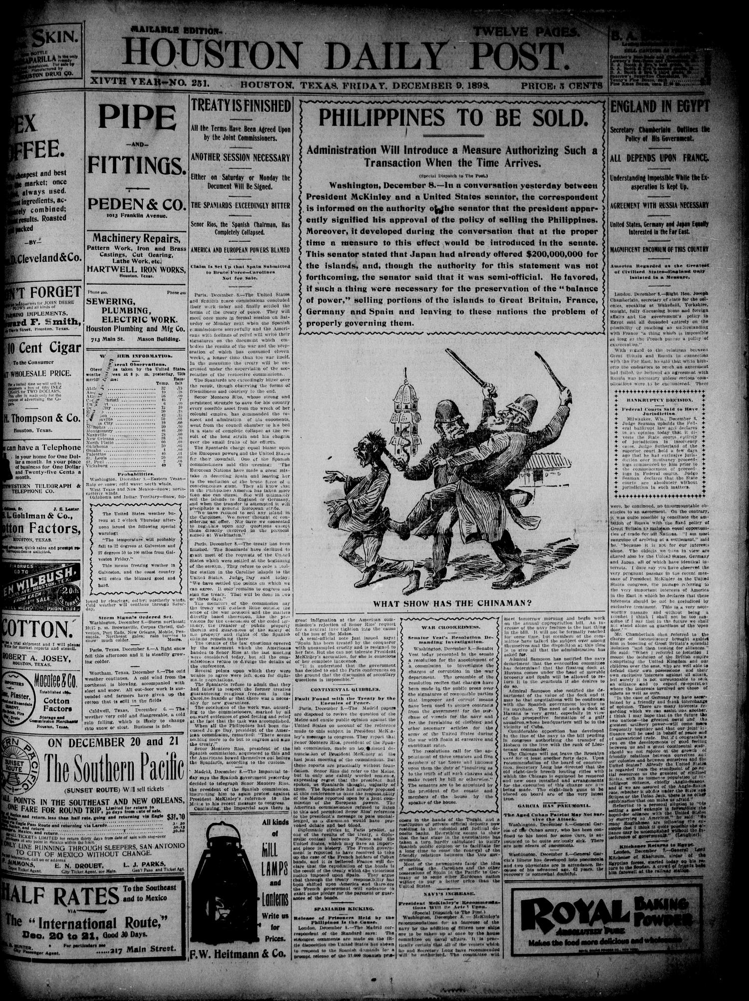 The Houston Daily Post (Houston, Tex.), Vol. 14, No. 251, Ed. 1, Friday, December 9, 1898                                                                                                      [Sequence #]: 1 of 12