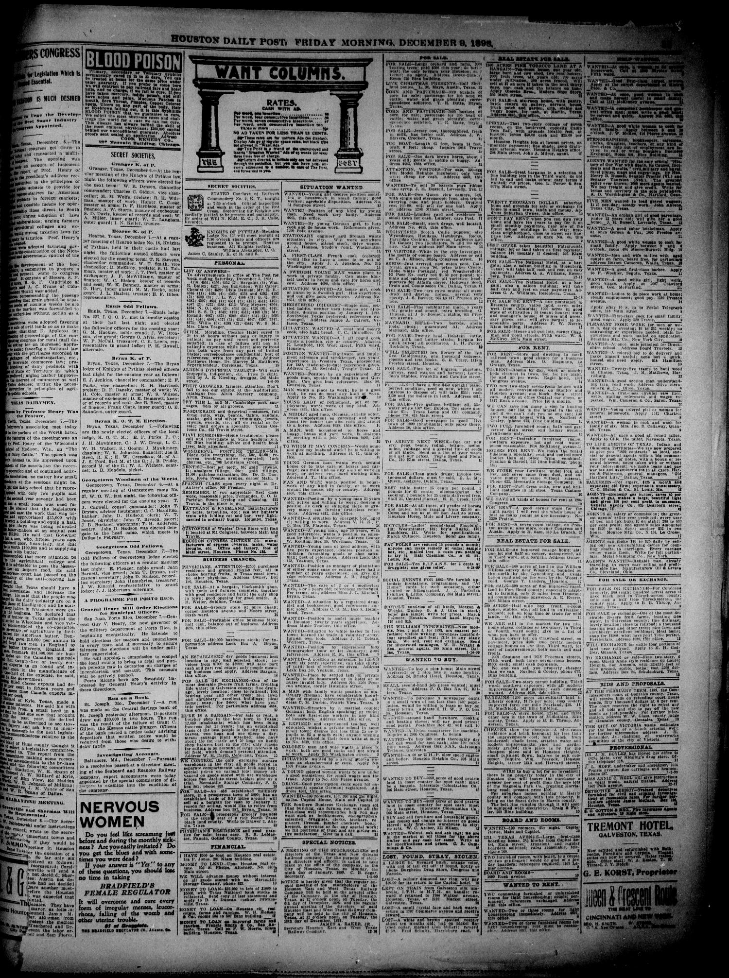 The Houston Daily Post (Houston, Tex.), Vol. 14, No. 251, Ed. 1, Friday, December 9, 1898                                                                                                      [Sequence #]: 11 of 12
