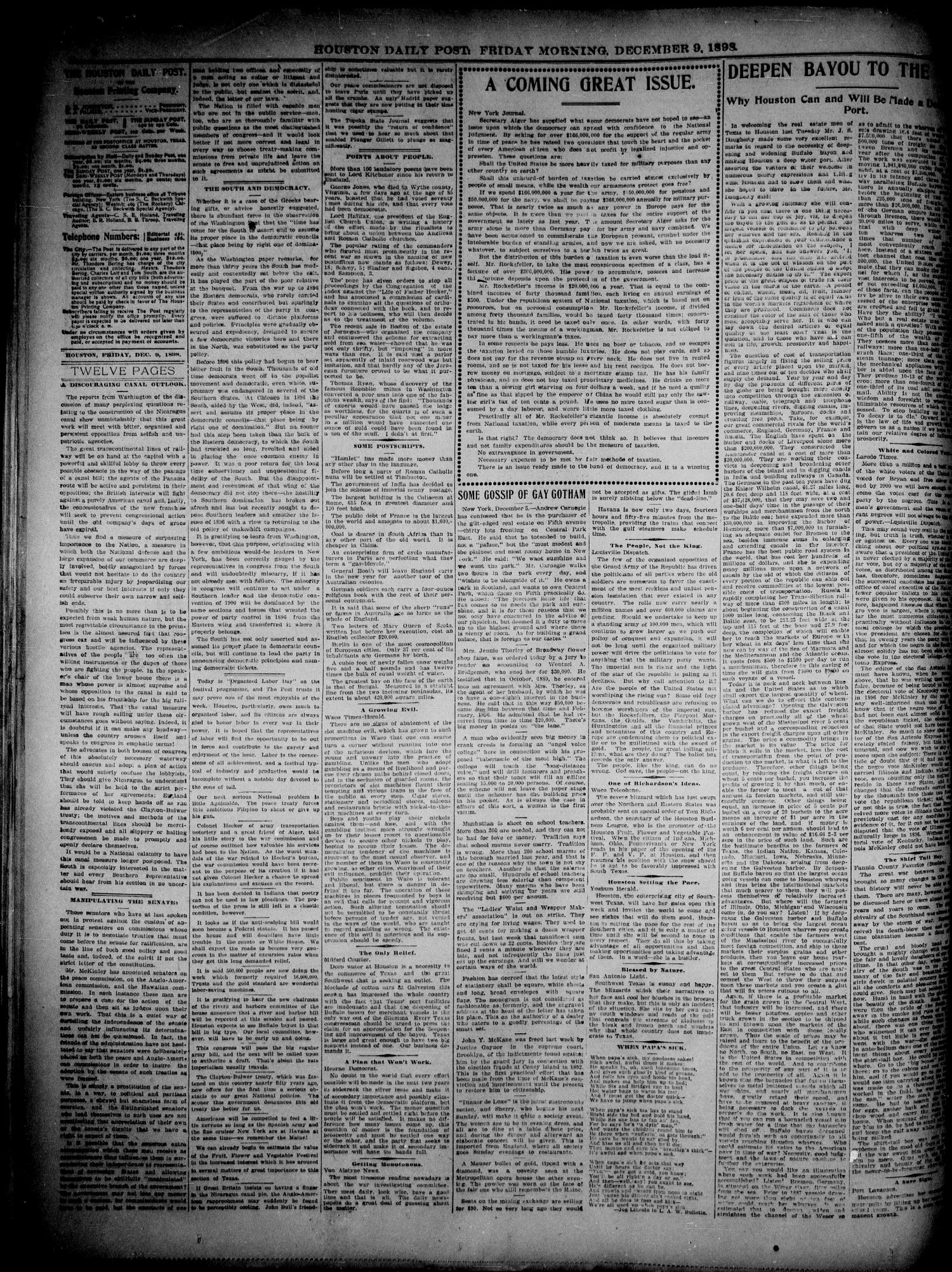 The Houston Daily Post (Houston, Tex.), Vol. 14, No. 251, Ed. 1, Friday, December 9, 1898                                                                                                      [Sequence #]: 4 of 12