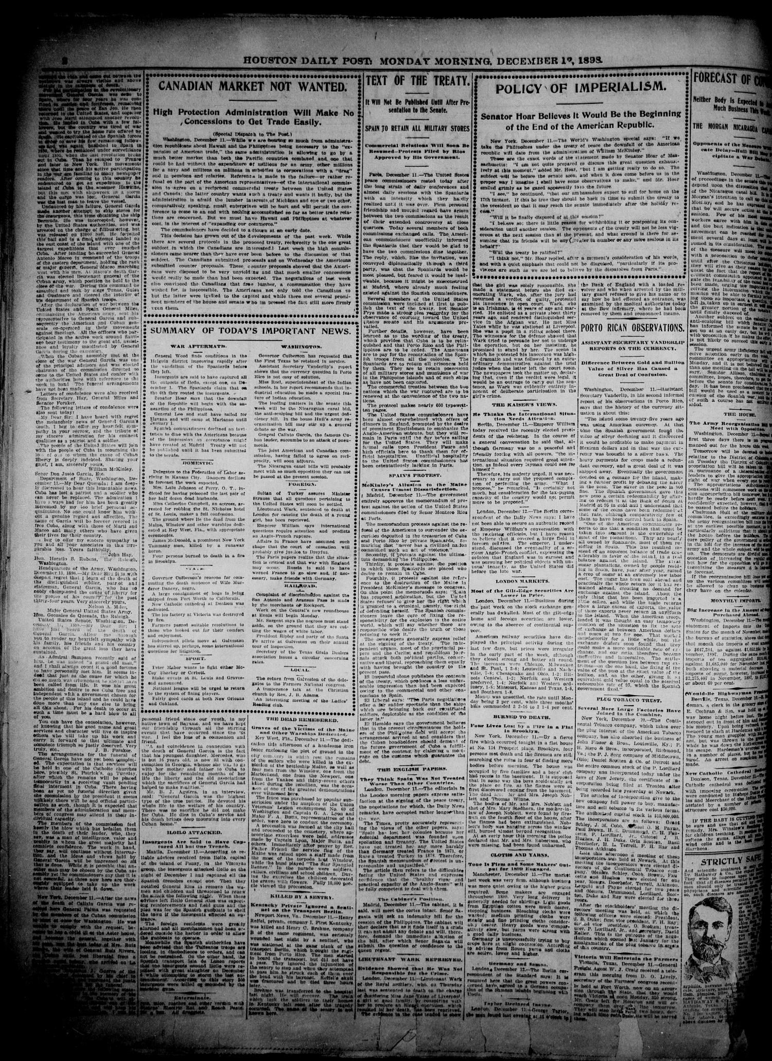 The Houston Daily Post (Houston, Tex.), Vol. 14, No. 254, Ed. 1, Monday, December 12, 1898                                                                                                      [Sequence #]: 2 of 8