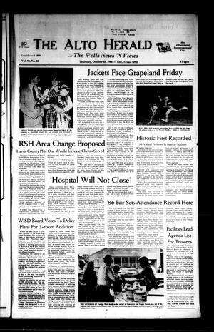The Alto Herald and The Wells News 'N Views (Alto, Tex.), Vol. 91, No. 24, Ed. 1 Thursday, October 23, 1986