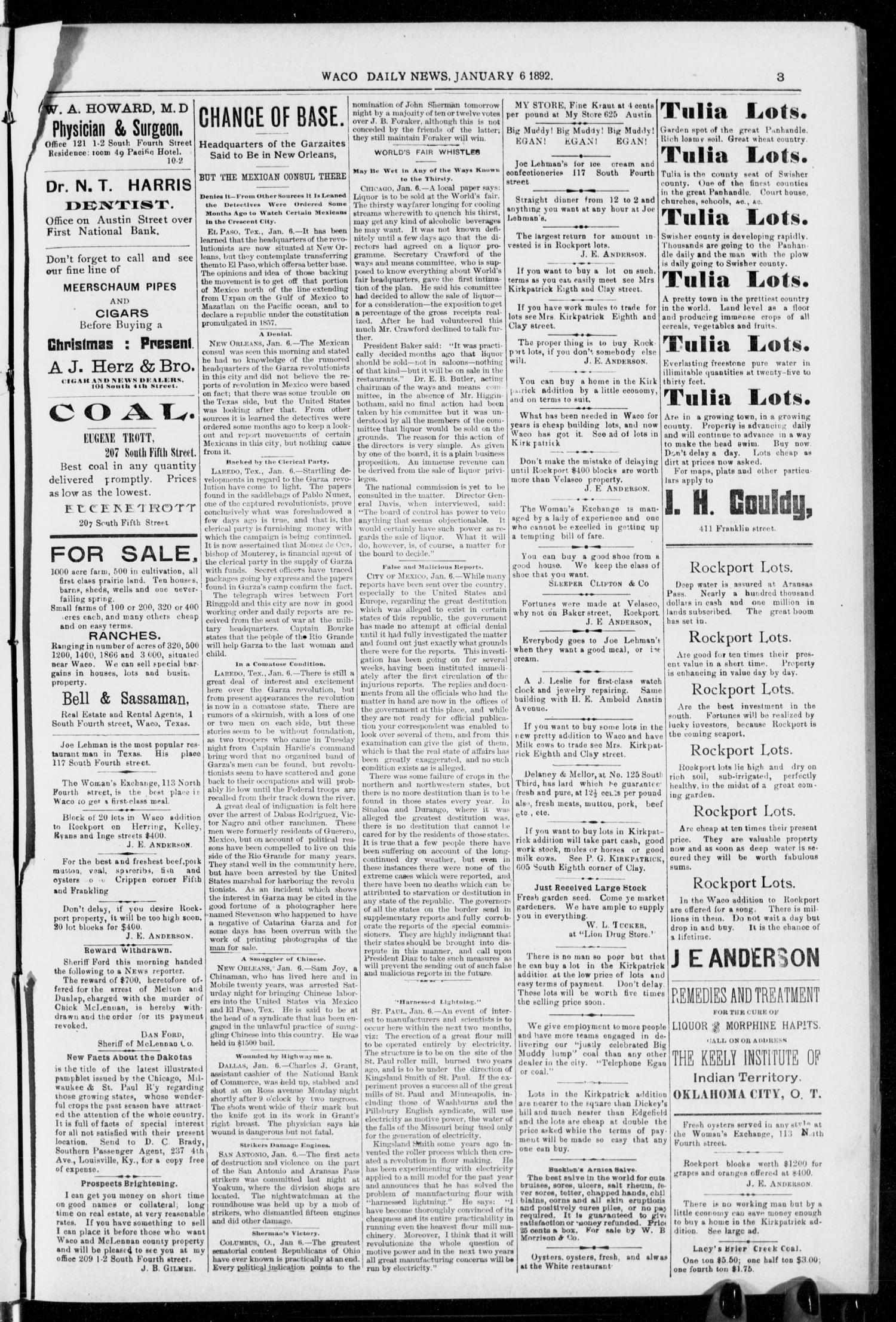 The Waco Evening News. (Waco, Tex.), Vol. 4, No. 152, Ed. 1, Wednesday, January 6, 1892                                                                                                      [Sequence #]: 1 of 6