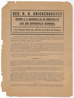 Rev. H. D. Knickerbocker Brands C. C. McDonald as an Unmitigated Liar and Unprincipled Scoundrel