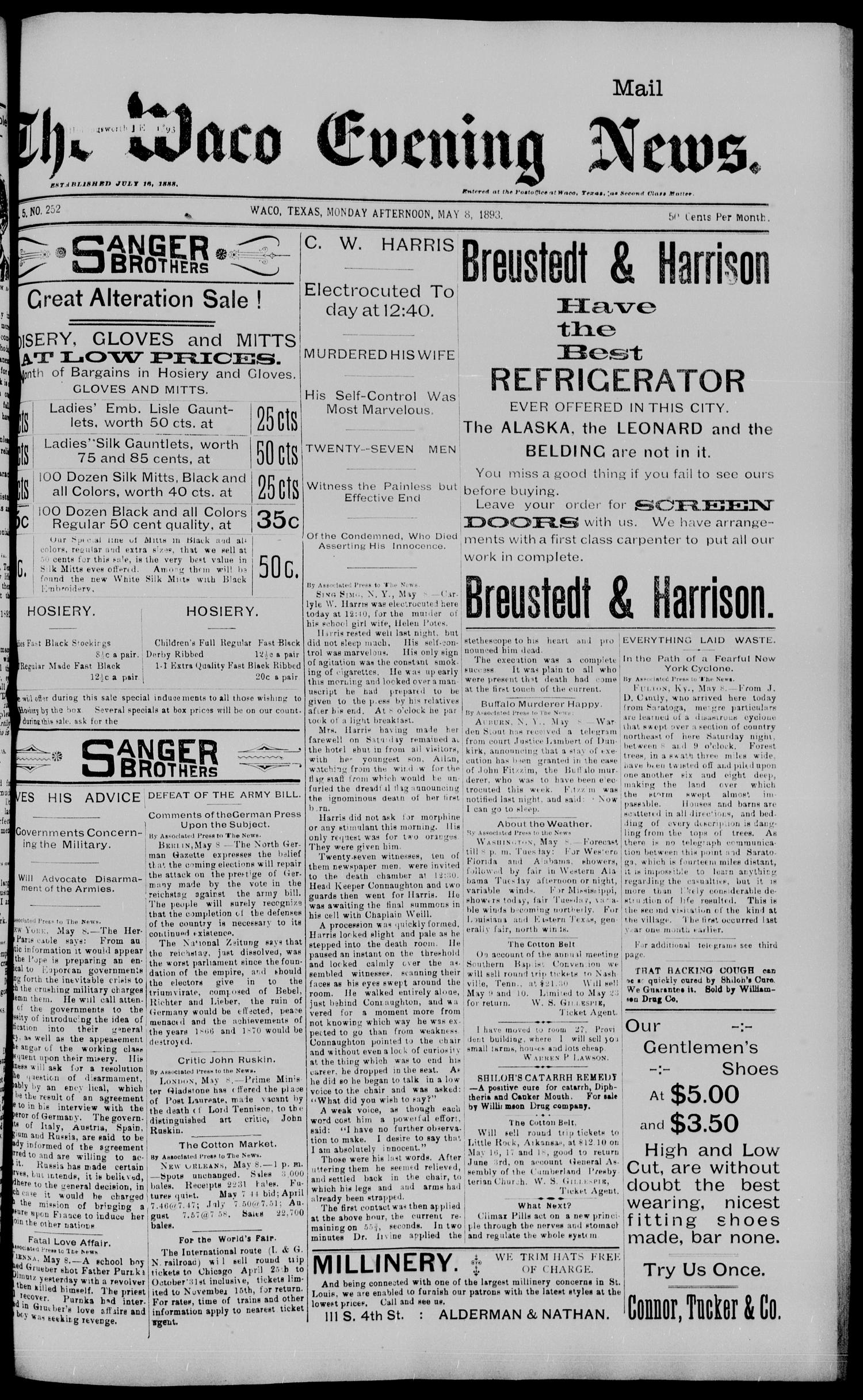 The Waco Evening News. (Waco, Tex.), Vol. 5, No. 252, Ed. 1, Monday, May 8, 1893                                                                                                      [Sequence #]: 1 of 8