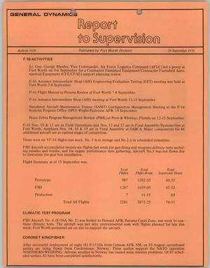 Primary view of object titled 'Convair Report to Supervision, Number 1029, September 20, 1978'.
