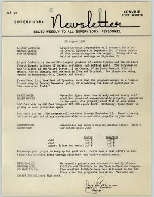 Primary view of object titled 'Convair Supervisory Newsletter, Number 321, August 28, 1957'.