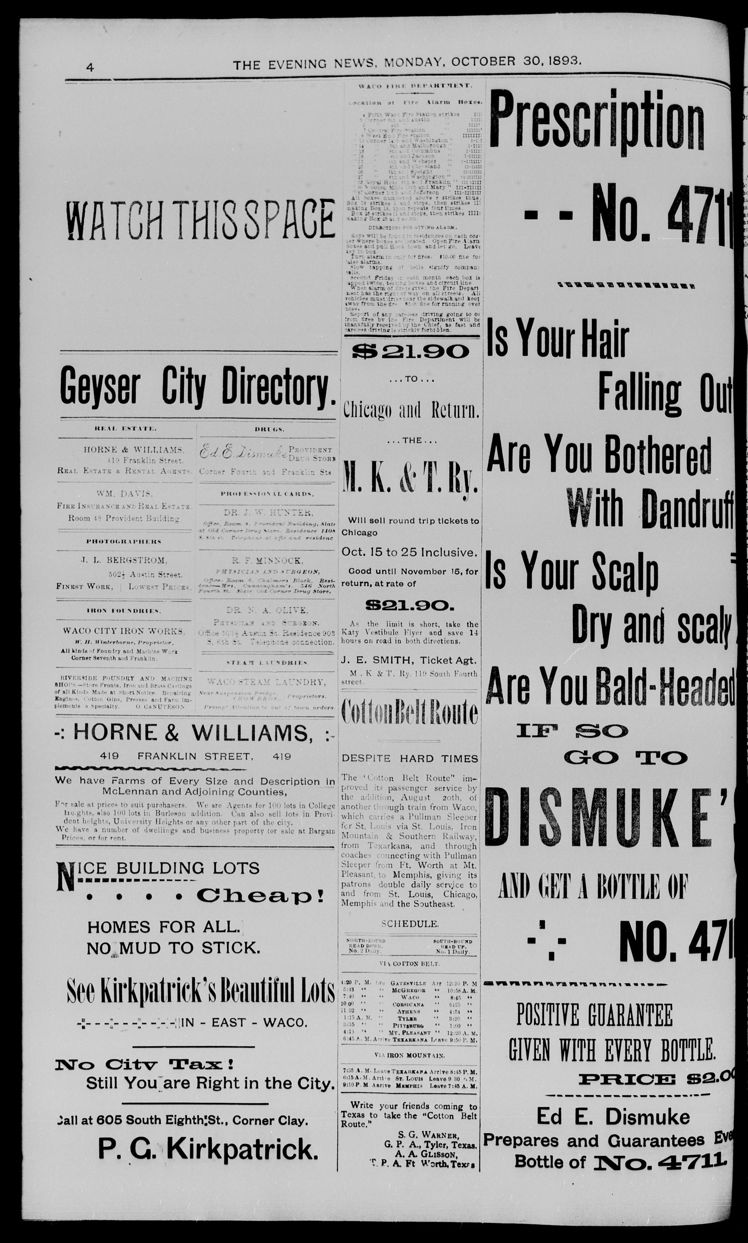 The Waco Evening News. (Waco, Tex.), Vol. 6, No. 90, Ed. 1, Monday, October 30, 1893                                                                                                      [Sequence #]: 4 of 8