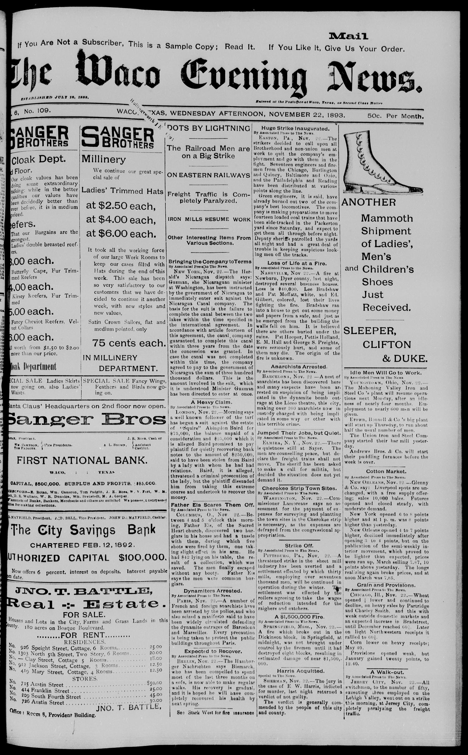 The Waco Evening News. (Waco, Tex.), Vol. 6, No. 109, Ed. 1, Wednesday, November 22, 1893                                                                                                      [Sequence #]: 1 of 8