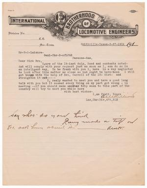 Primary view of object titled '[Letter to W. O. Laisure, February 27, 1916]'.