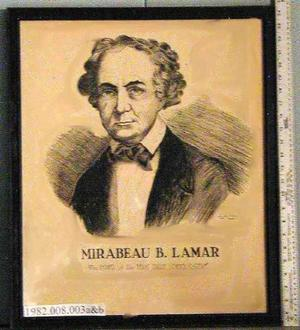 Primary view of object titled '[Black frame that enclosed drawing of Mirabeau B. Lamar]'.