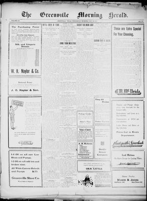 Primary view of object titled 'The Greenville Morning Herald. (Greenville, Tex.), Vol. 20, No. 265, Ed. 1, Wednesday, July 20, 1910'.