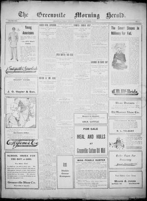 Primary view of object titled 'The Greenville Morning Herald. (Greenville, Tex.), Vol. 20, No. 11, Ed. 1, Thursday, September 1, 1910'.