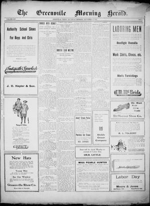 Primary view of object titled 'The Greenville Morning Herald. (Greenville, Tex.), Vol. 20, No. 3, Ed. 1, Saturday, September 3, 1910'.