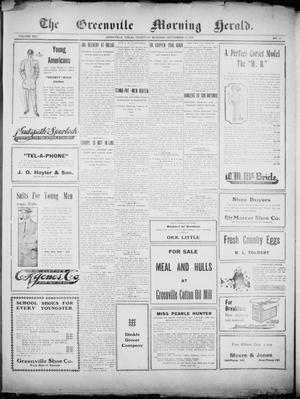 Primary view of object titled 'The Greenville Morning Herald. (Greenville, Tex.), Vol. 20, No. 13, Ed. 1, Thursday, September 15, 1910'.