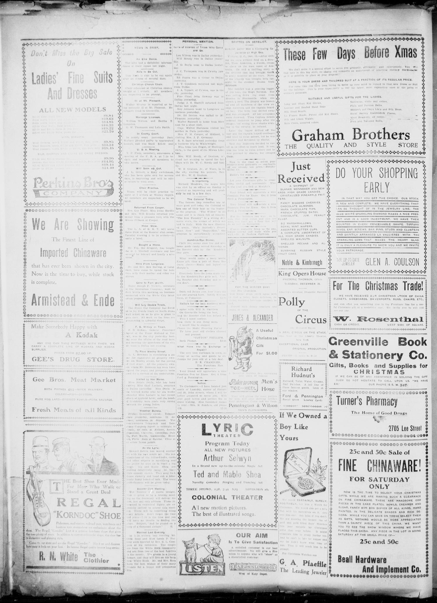 The Greenville Morning Herald. (Greenville, Tex.), Vol. 20, No. 92, Ed. 1, Friday, December 16, 1910                                                                                                      [Sequence #]: 4 of 4