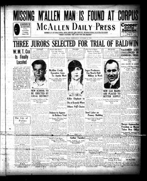 Primary view of object titled 'McAllen Daily Press (McAllen, Tex.), Vol. 9, No. 258, Ed. 1 Wednesday, October 16, 1929'.