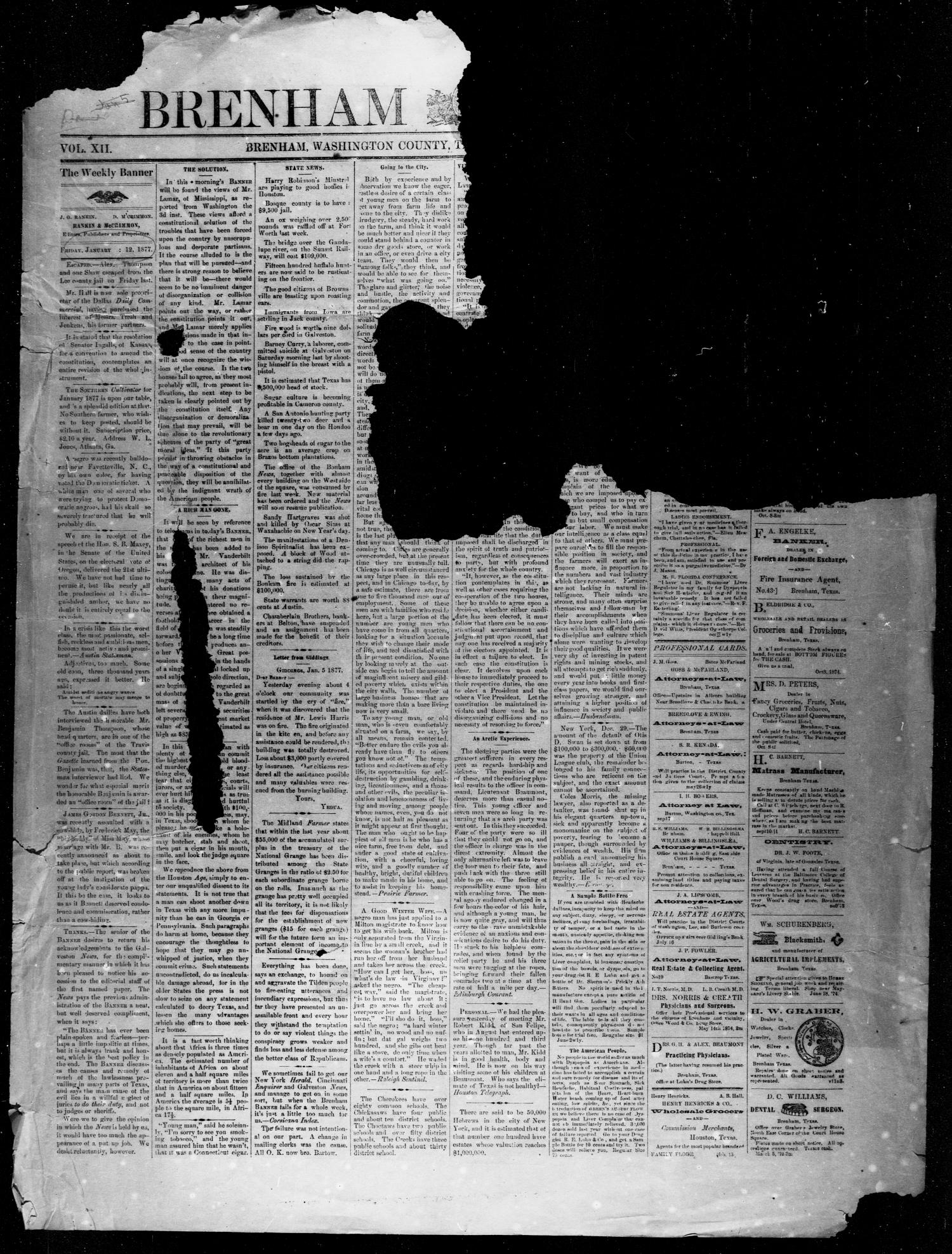 Brenham Weekly Banner. (Brenham, Tex.), Vol. 12, No. 1, Ed. 1, Friday, January 5, 1877                                                                                                      [Sequence #]: 1 of 4