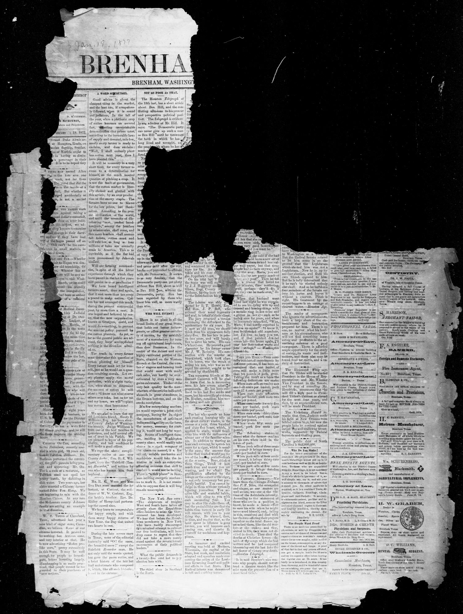 Brenham Weekly Banner. (Brenham, Tex.), Vol. 12, No. 3, Ed. 1, Friday, January 19, 1877                                                                                                      [Sequence #]: 1 of 4