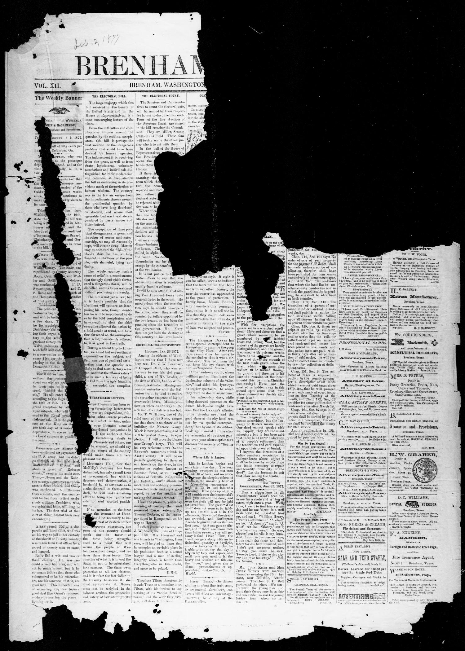 Brenham Weekly Banner. (Brenham, Tex.), Vol. 12, No. 5, Ed. 1, Friday, February 2, 1877                                                                                                      [Sequence #]: 1 of 4