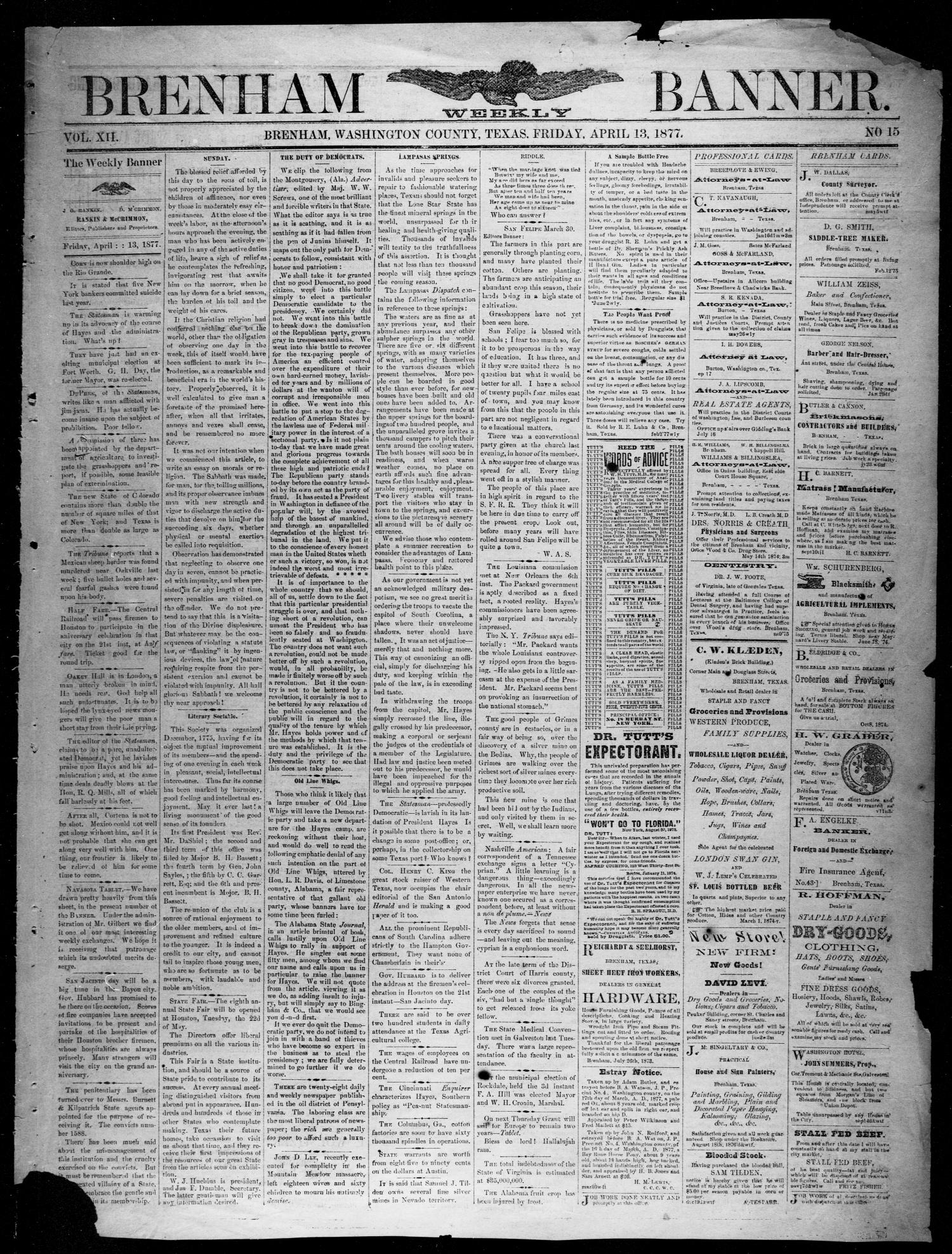 Brenham Weekly Banner. (Brenham, Tex.), Vol. 12, No. 15, Ed. 1, Friday, April 13, 1877                                                                                                      [Sequence #]: 1 of 4