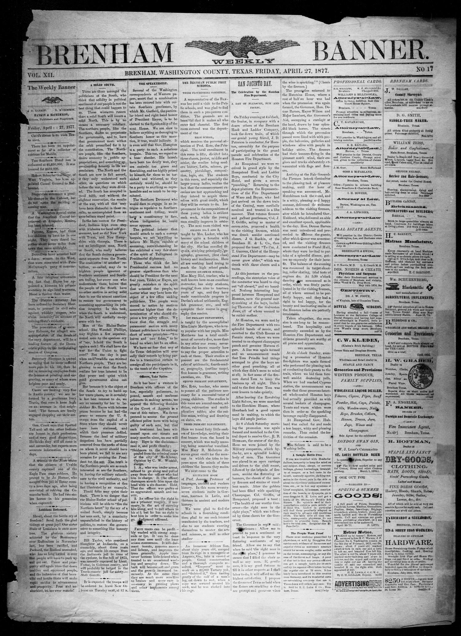 Brenham Weekly Banner. (Brenham, Tex.), Vol. 12, No. 17, Ed. 1, Friday, April 27, 1877                                                                                                      [Sequence #]: 1 of 4