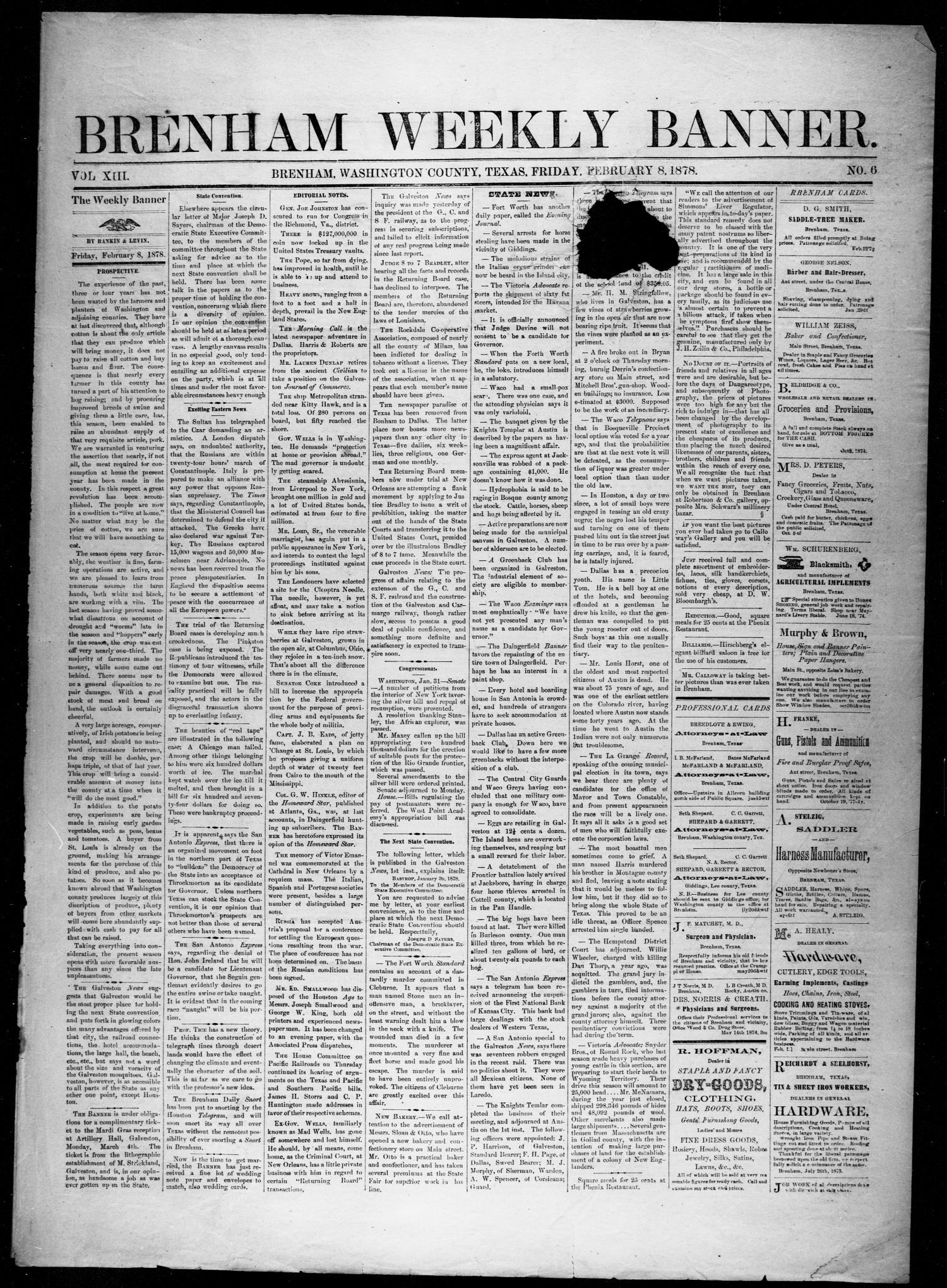 Brenham Weekly Banner. (Brenham, Tex.), Vol. 13, No. 6, Ed. 1, Friday, February 8, 1878                                                                                                      [Sequence #]: 1 of 4