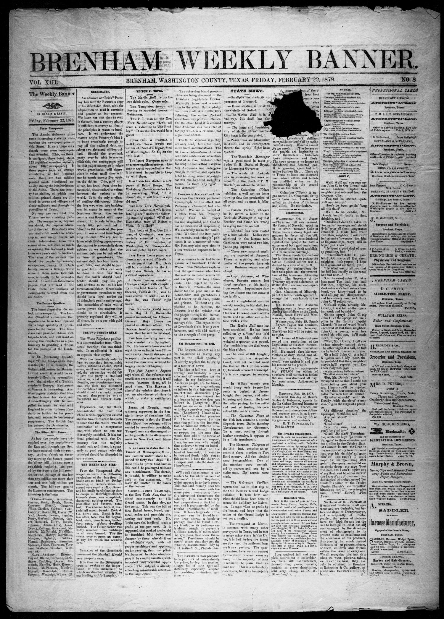 Brenham Weekly Banner. (Brenham, Tex.), Vol. 13, No. 8, Ed. 1, Friday, February 22, 1878                                                                                                      [Sequence #]: 1 of 4