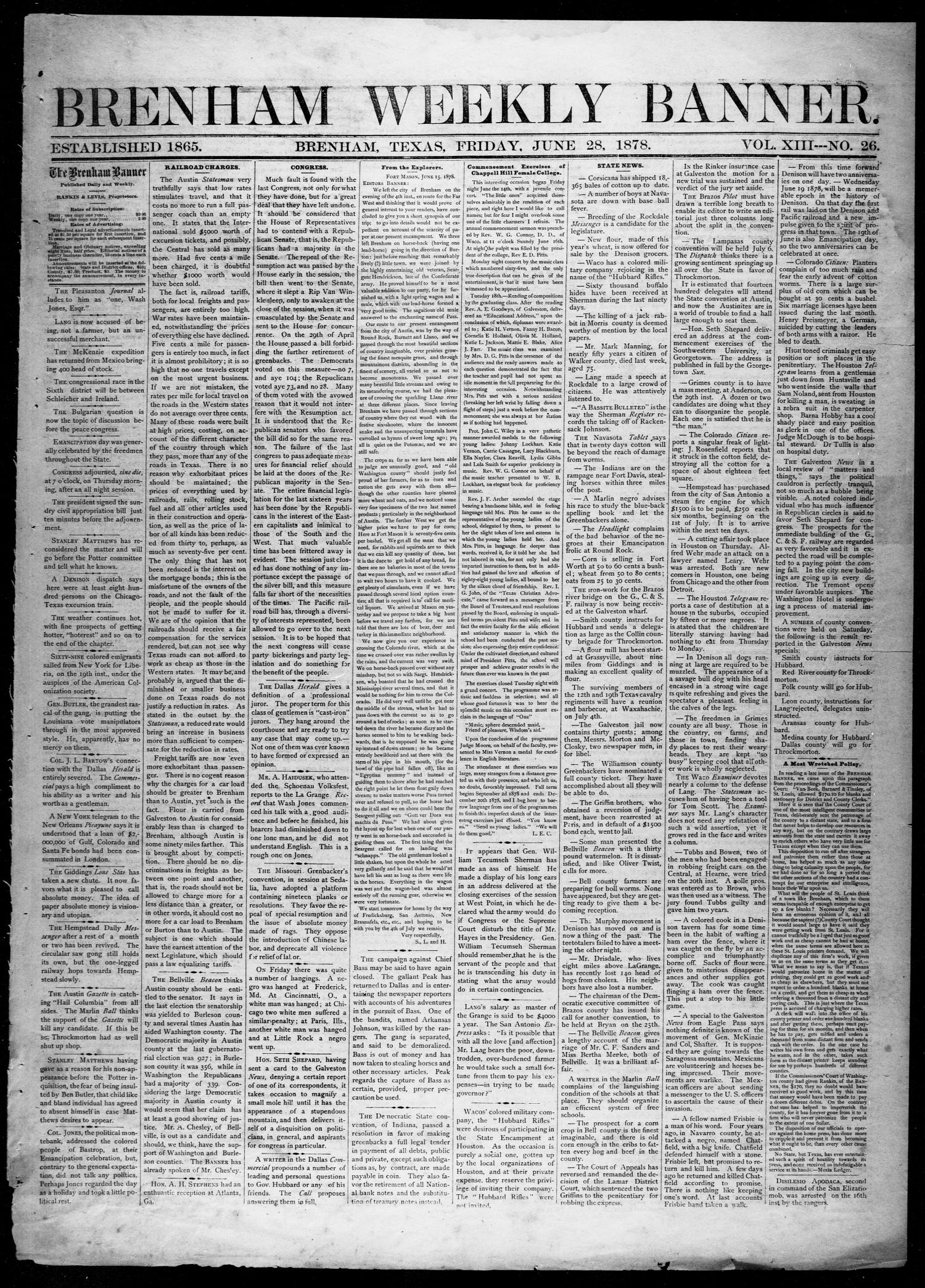 Brenham Weekly Banner. (Brenham, Tex.), Vol. 13, No. 26, Ed. 1, Friday, June 28, 1878                                                                                                      [Sequence #]: 1 of 4