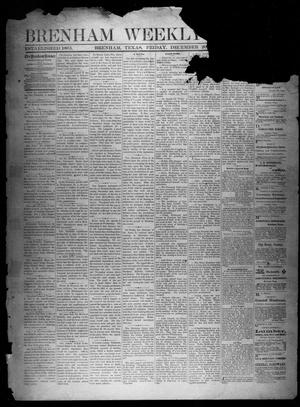 Primary view of object titled 'Brenham Weekly Banner. (Brenham, Tex.), Vol. 13, No. 51, Ed. 1, Friday, December 20, 1878'.