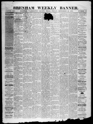 Primary view of object titled 'Brenham Weekly Banner. (Brenham, Tex.), Vol. 14, No. 39, Ed. 1, Friday, September 26, 1879'.