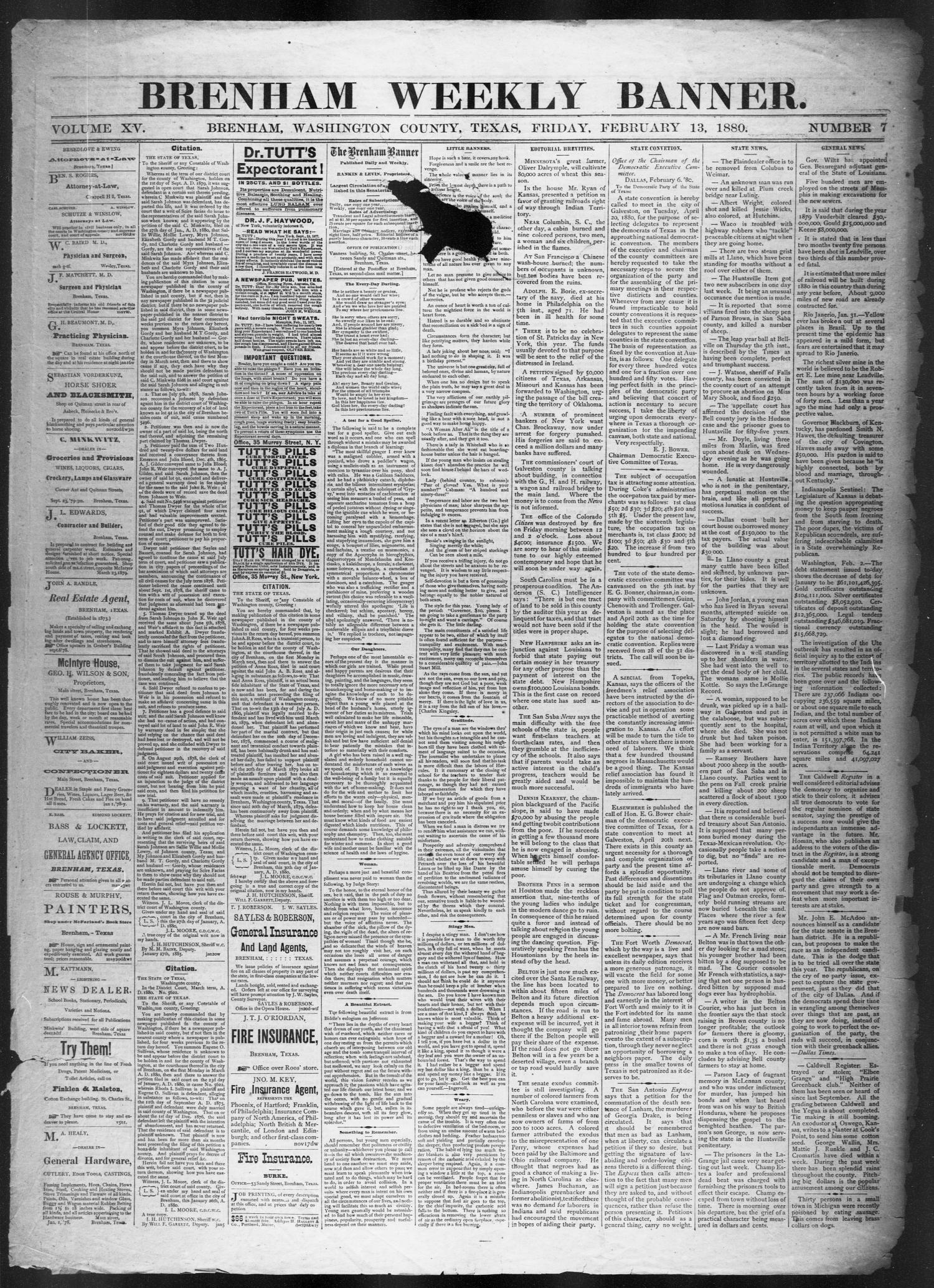Brenham Weekly Banner. (Brenham, Tex.), Vol. 15, No. 7, Ed. 1, Friday, February 13, 1880                                                                                                      [Sequence #]: 1 of 4