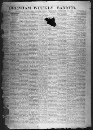 Primary view of object titled 'Brenham Weekly Banner. (Brenham, Tex.), Vol. 15, No. 40, Ed. 1, Thursday, September 30, 1880'.
