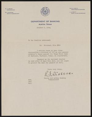 Primary view of [Letter from R. F. Siddons to Perry Sayles, October 6, 1934]