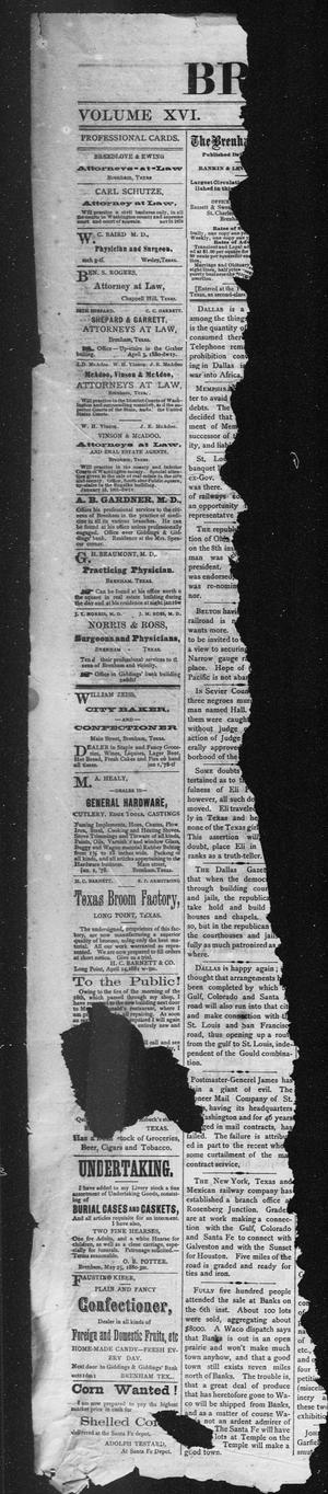 Primary view of object titled 'Brenham Weekly Banner. (Brenham, Tex.), Vol. 16, No. 51, Ed. 1, Thursday, December 22, 1881'.