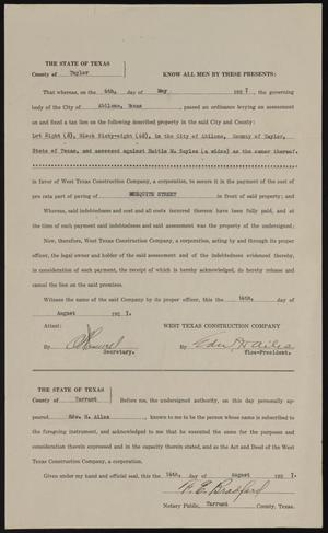 Primary view of object titled '[Liens Release of Hattie M. Sayles by West Texas Construction Company]'.