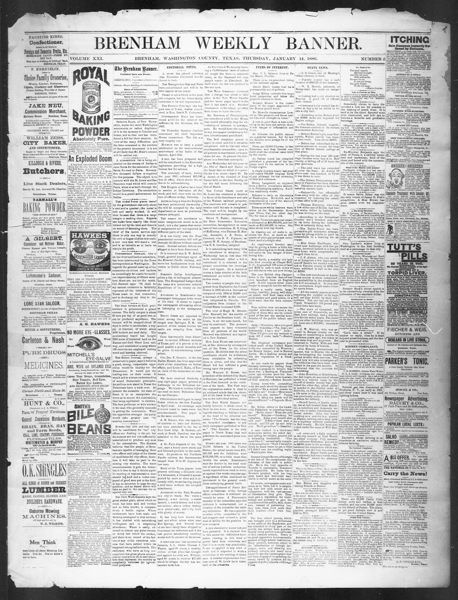 Brenham Weekly Banner. (Brenham, Tex.), Vol. 21, No. 2, Ed. 1, Thursday, January 14, 1886                                                                                                      [Sequence #]: 1 of 4
