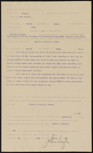 Primary view of object titled '[Warranty Deed From John Sayles to Hattie M. Sayles]'.