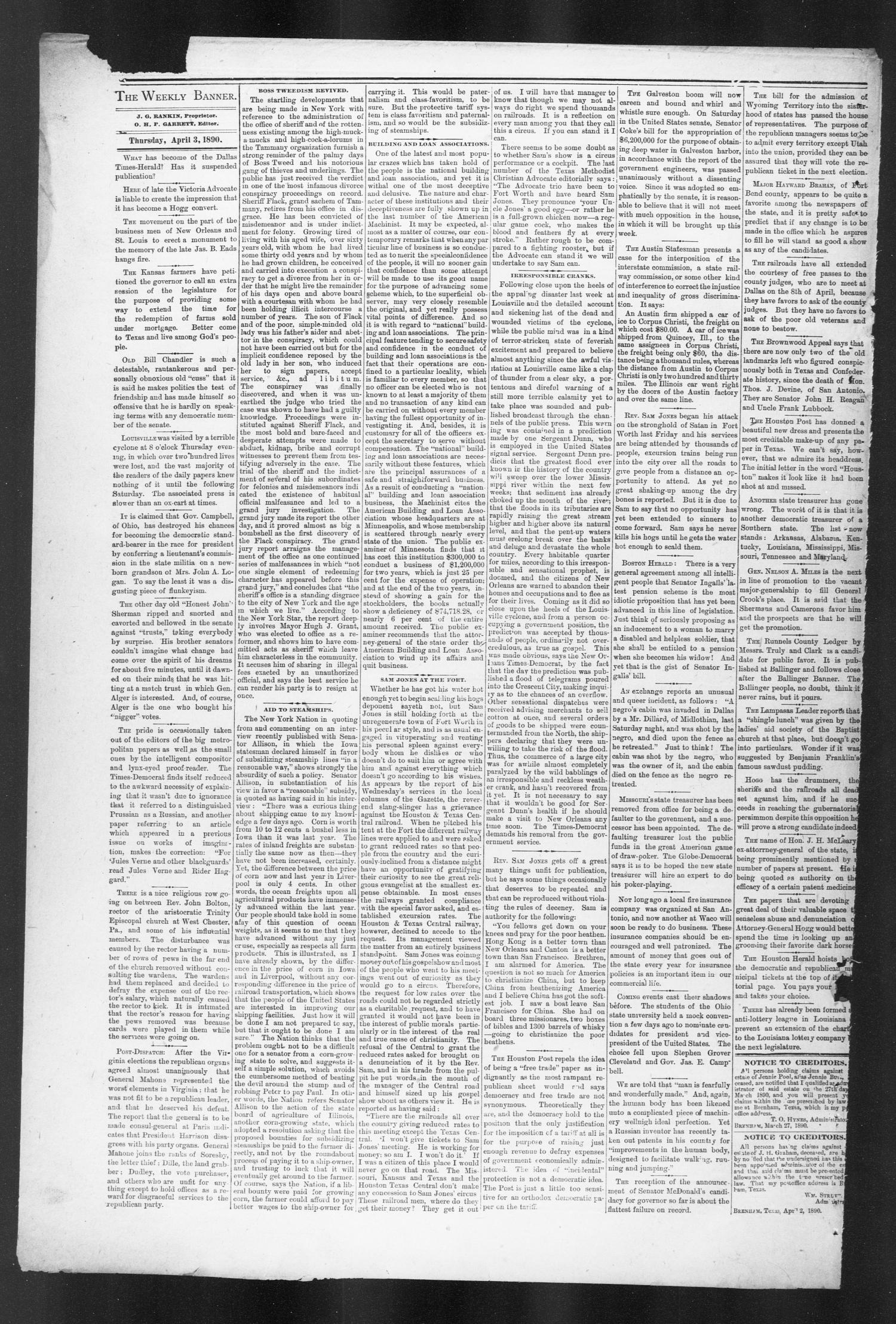 Brenham Weekly Banner. (Brenham, Tex.), Vol. 25, No. 14, Ed. 1, Thursday, April 3, 1890                                                                                                      [Sequence #]: 4 of 8
