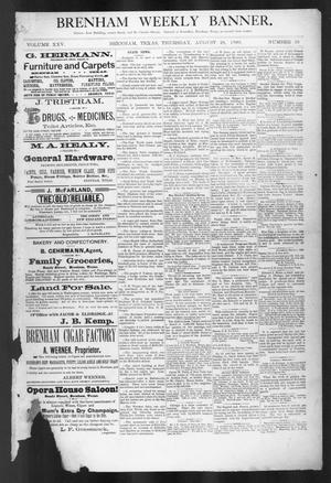 Primary view of object titled 'Brenham Weekly Banner. (Brenham, Tex.), Vol. 25, No. 35, Ed. 1, Thursday, August 28, 1890'.