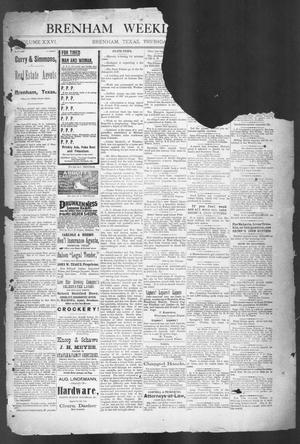 Primary view of object titled 'Brenham Weekly Banner. (Brenham, Tex.), Vol. 26, No. 27, Ed. 1, Thursday, July 2, 1891'.