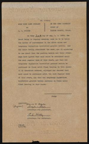 Primary view of object titled '[Cause No. 6733-A: Order of Continuation, May 20, 1929]'.