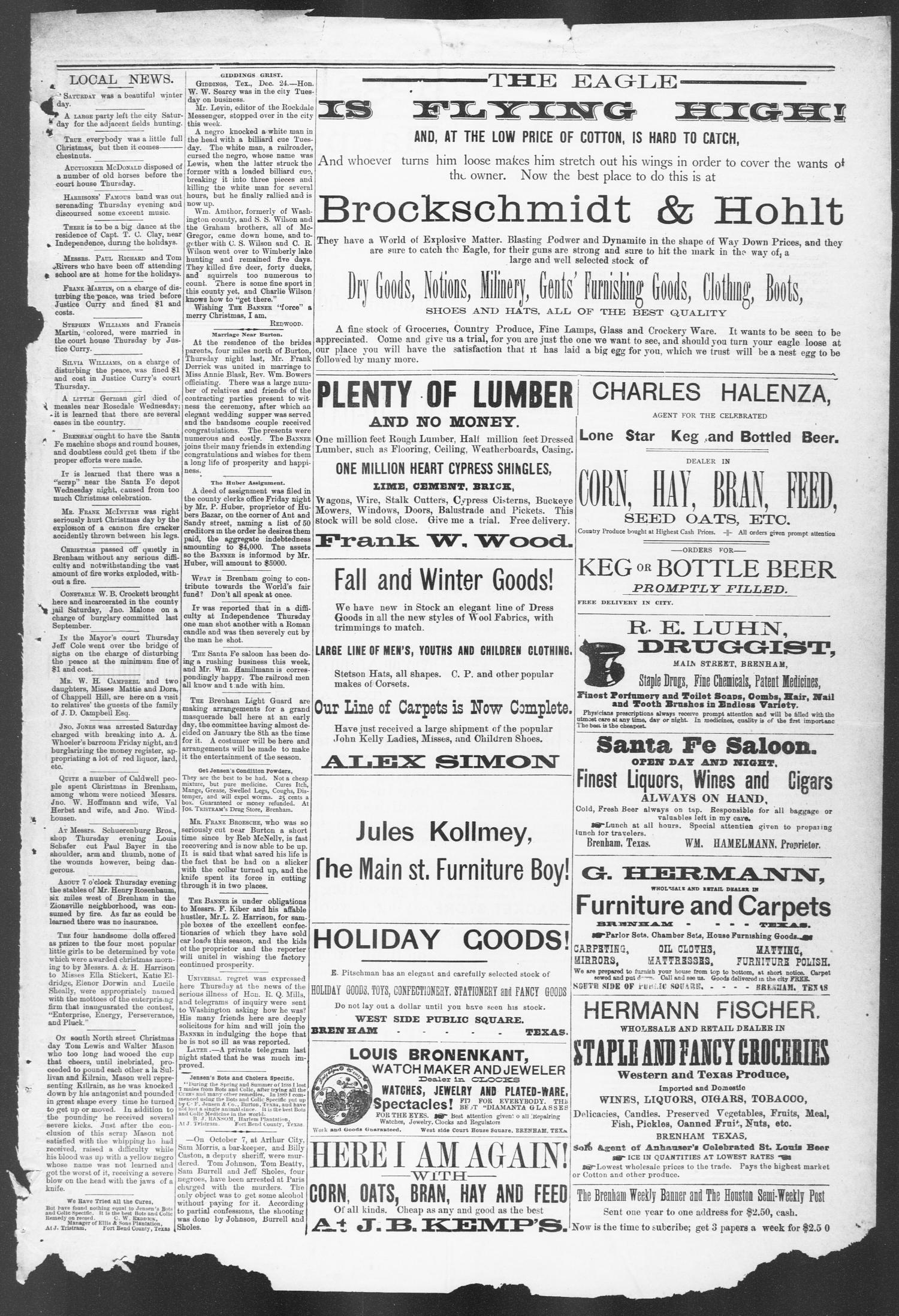 Brenham Weekly Banner. (Brenham, Tex.), Vol. 26, No. 52, Ed. 1, Thursday, December 31, 1891                                                                                                      [Sequence #]: 7 of 8