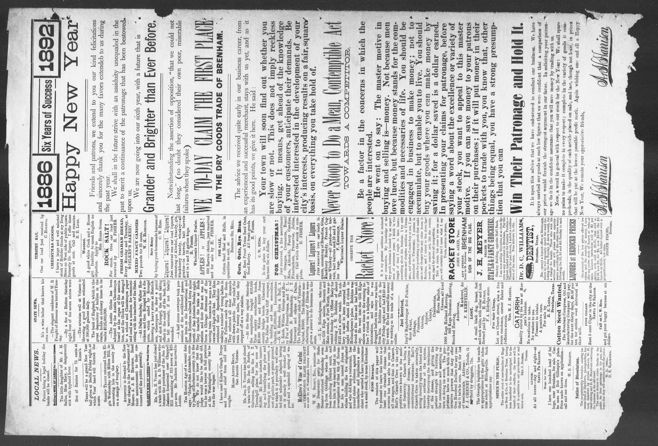 Brenham Weekly Banner. (Brenham, Tex.), Vol. 26, No. 52, Ed. 1, Thursday, December 31, 1891                                                                                                      [Sequence #]: 8 of 8