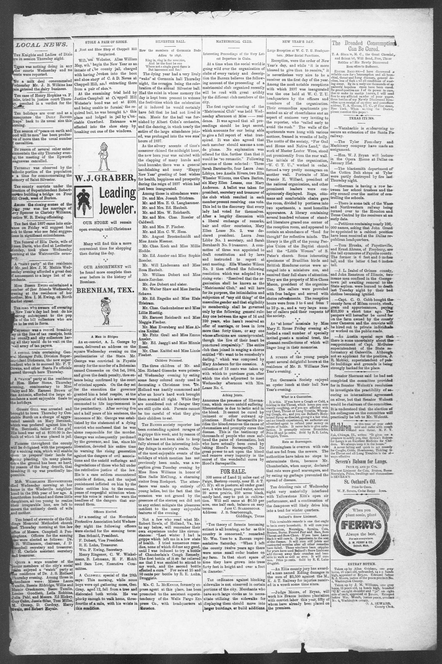 Brenham Weekly Banner. (Brenham, Tex.), Vol. 32, No. 1, Ed. 1, Thursday, January 7, 1897                                                                                                      [Sequence #]: 7 of 8