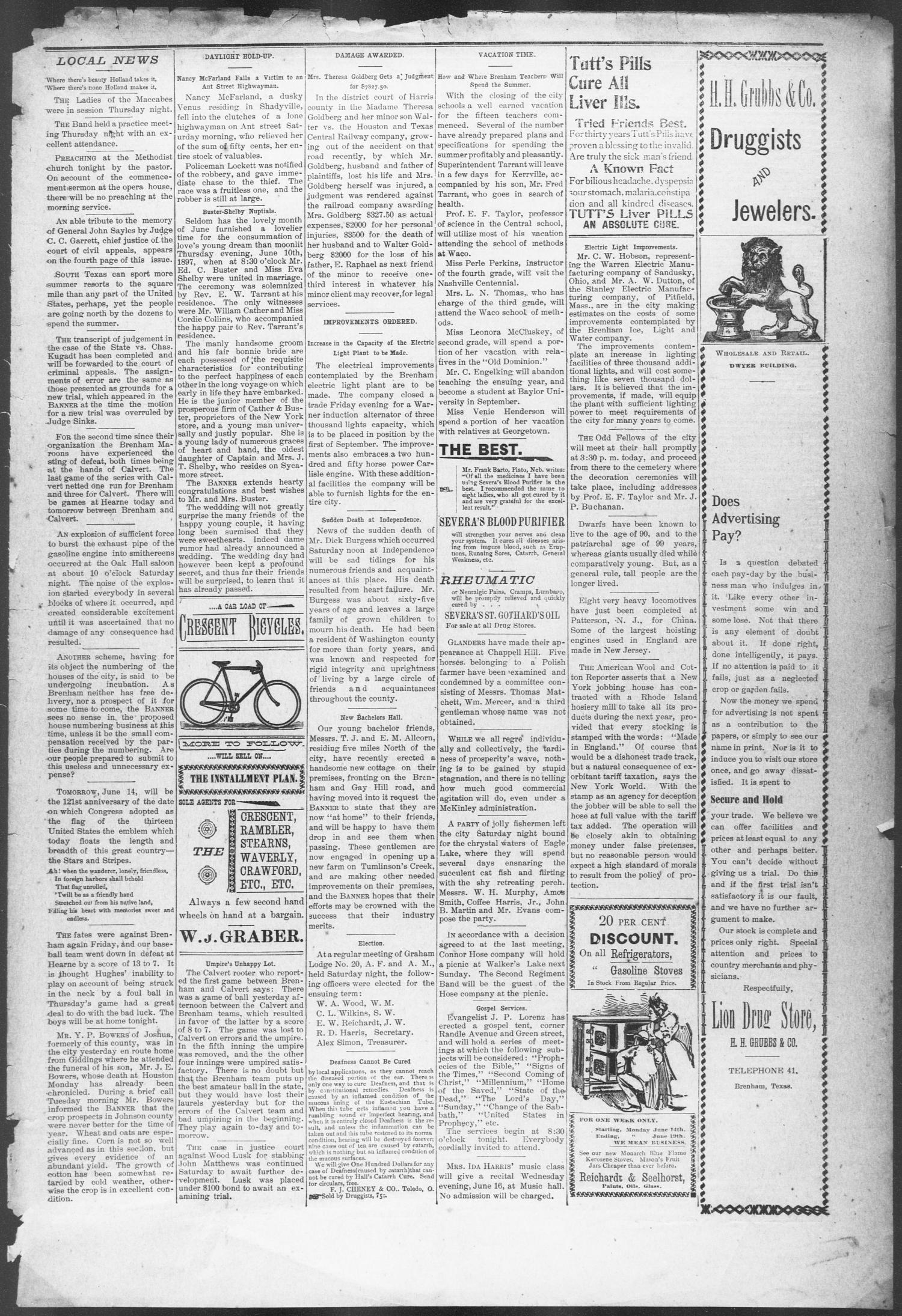 Brenham Weekly Banner. (Brenham, Tex.), Vol. 32, No. 101, Ed. 1, Thursday, June 17, 1897                                                                                                      [Sequence #]: 3 of 10