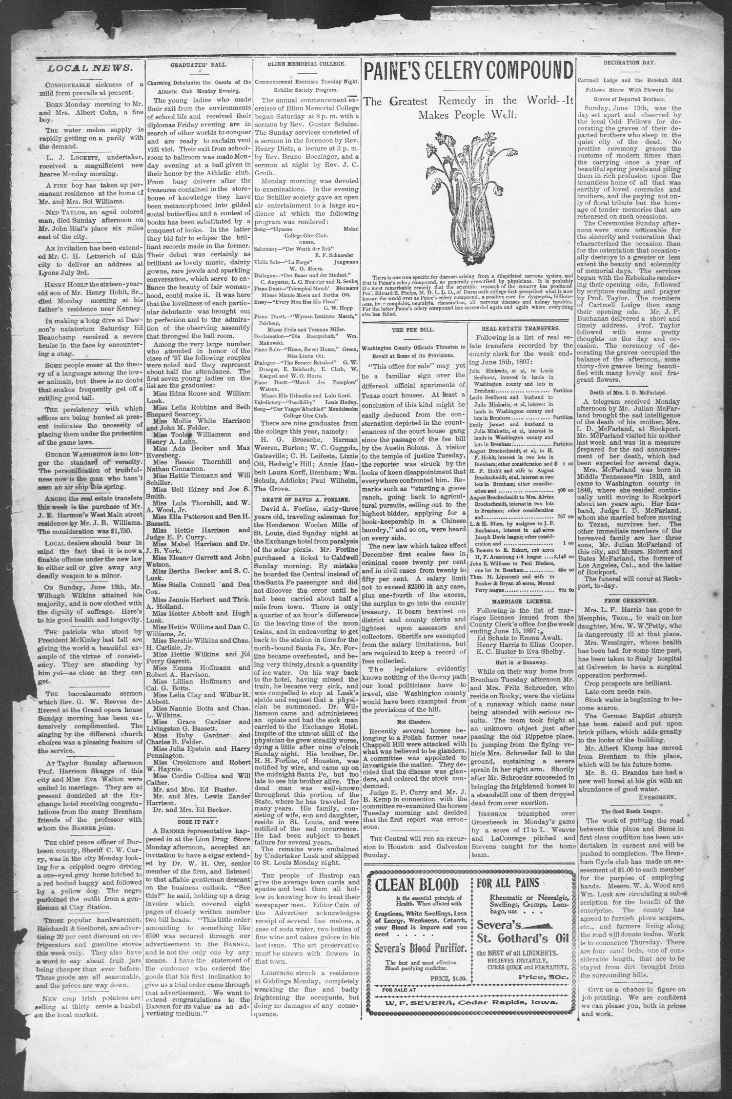 Brenham Weekly Banner. (Brenham, Tex.), Vol. 32, No. 101, Ed. 1, Thursday, June 17, 1897                                                                                                      [Sequence #]: 5 of 10