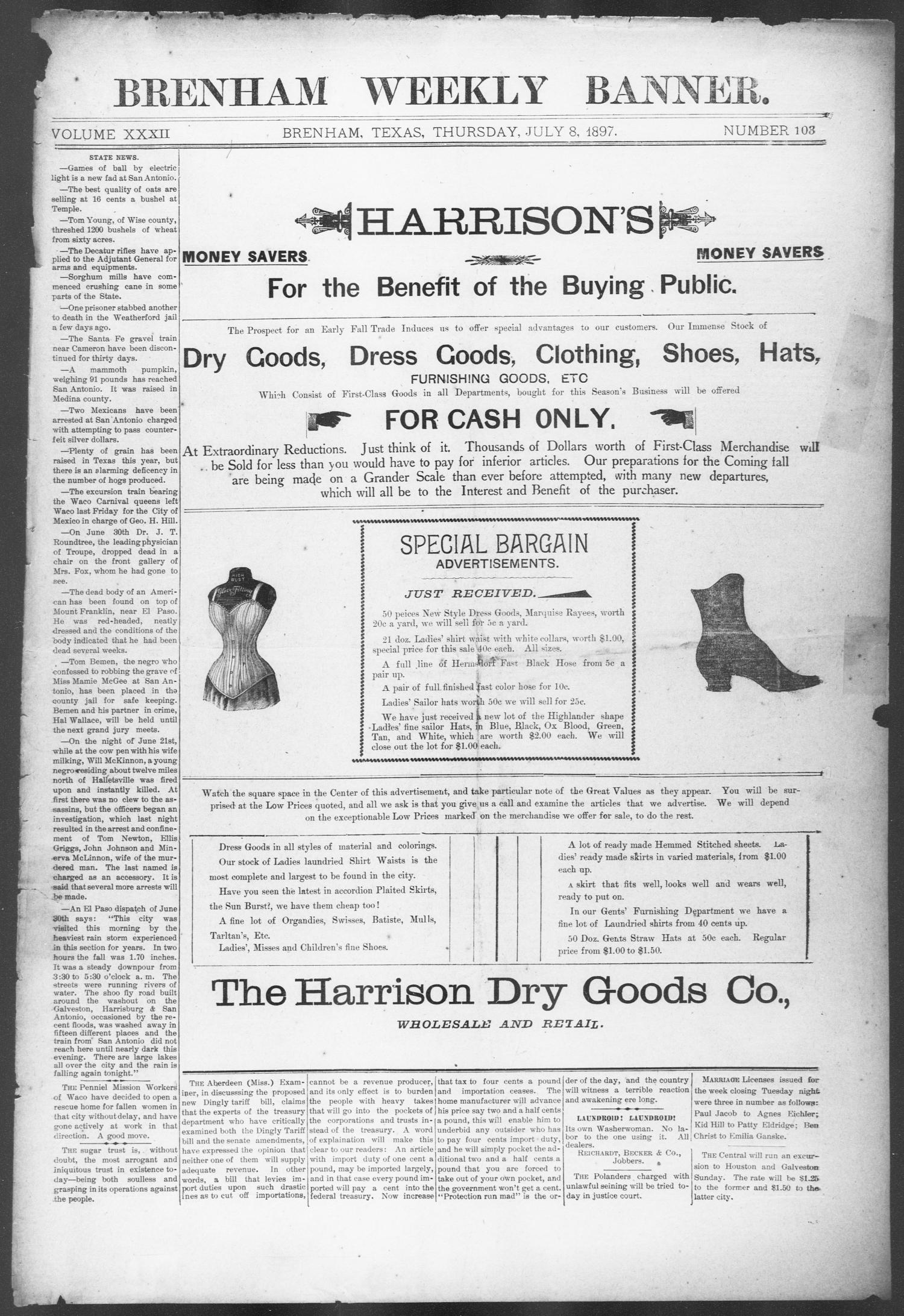 Brenham Weekly Banner. (Brenham, Tex.), Vol. 32, No. 103, Ed. 1, Thursday, July 8, 1897                                                                                                      [Sequence #]: 1 of 10